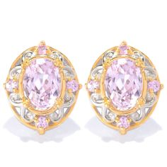 This exquisite one-of-a-kind Michael Valitutti earing features Kunzite accented by Light Pink Sapphire. Crafted of palladium silver with a beautifully-constructed undergallery and 18k yellow gold-embr