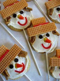 Scarecrow Cookies on a stick. via skiptomylou.org