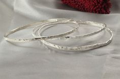 Stacking Silver Bangles Sterling Silver by LIRANSHANI on Etsy