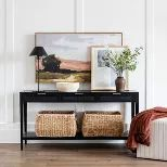 Woven Drawer Console Table Black - Threshold™ Designed With Studio McGee : Target Black Entryway Table, Entryway Tables, Studio Mcgee, Drawer Shelves, Wood Shelves, Console Table, Target, Furniture Hardware, Inspired Homes