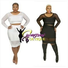 MESH TO CONFESS SKIRT SET   ( MODEL WEARING 1X )   RECOMMEND GOING UP 1 SIZE   SIZE :  1X  2X  3X    COLORS :  WHITE  BLACK    BOOTS by STEVE MADDEN   WWW.CURVACEOUSBOUTIQUE.COM & IN STORE   { { VISIT THE WEBSITE FOR ALL DETAILS & PRICE } } }