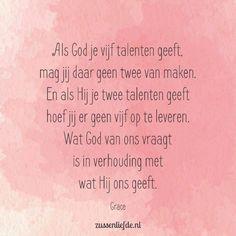 Als God je vijf talenten geeft...(@zussenliefde.nl) Mattheus 25:14-30 Elke vrouw heeft haar eigen kwaliteiten, gaven en talenten gekregen van God. En Hij geniet ervan als we Hem daarmee dienen. Welke talenten zijn dat voor jou en wat mag- en kan je ermee gaan doen? http://powertothemamas.nl/2017/02/21-dagen-challenge-lets-shine-mama/