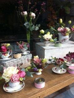 This year for Mother's Day, we decided to fill our window with some very pretty vintage tea cups filled with some equally pretty flowers A. Florist Window Display, Spring Window Display, Window Display Retail, Display Windows, Shop Windows, Charity Shop Display Ideas, Tea Display, Arte Floral, Store Displays