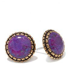 Studio Barse Purple Turquoise Bronze Button Earrings