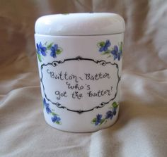 Jubilee Bone China Button Keeper Storage Jar w/Lid Flower Sewing Crafts England #JubileeFineBoneChina