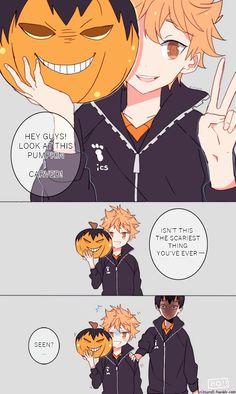 Hinata you might want to drop that pumpkin and run for you life (Haikyuu) Haikyuu Kageyama, Manga Haikyuu, Haikyuu Funny, Haikyuu Fanart, Manga Anime, Hinata Shouyou, Kagehina Cute, Volleyball Anime, Version Francaise