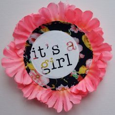 Items similar to Handmade 'IT'S A GIRL' pin badge, made from a mix of vintage fabrics, bold vinyl print and synthetic petal trim. on Etsy Vintage Fabrics, Pin Badges, Rosettes, New Baby Products, Birthday Cake, Baby Shower, Prints, Handmade, Etsy