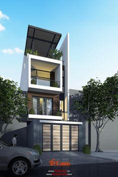 Căn nhà phố tại Quận 7 sắp hoàn thiện Duplex Design, Bungalow House Design, House Front Design, Modern House Design, Modern Townhouse, Townhouse Designs, Facade Design, Exterior Design, Modern Architecture House