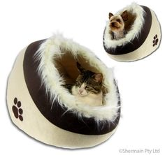 Pet Cave Bed - Luxury Snuggle Igloo Hut - for Cat Small Dog Kitten Puppy - Two Tone Beige & Brown - Smooth Round Padded Bedding Hut Design with Warm Fur Covered Hood - Brand New - http://www.thepuppy.org/pet-cave-bed-luxury-snuggle-igloo-hut-for-cat-small-dog-kitten-puppy-two-tone-beige-brown-smooth-round-padded-bedding-hut-design-with-warm-fur-covered-hood-brand-new/