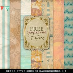 Freebies Retro Kit of Summer Style Papers (Far Far Hill)
