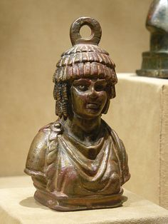 Steelyard weight with the bust of Athena Copper Alloy Byzantine 400-600 CE (2)   Flickr - Photo Sharing!