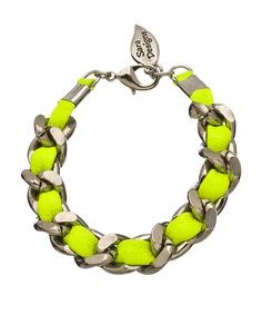 Sara Designs Neon Yellow Silver Plated Leather Bracelet
