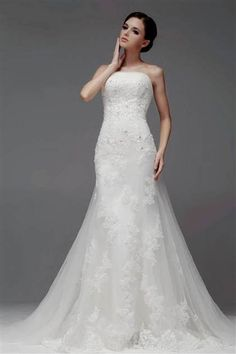 Cool strapless lace wedding dress a-line 2018/2019 Check more at http://24myfashion.com/2016/strapless-lace-wedding-dress-a-line-20182019/