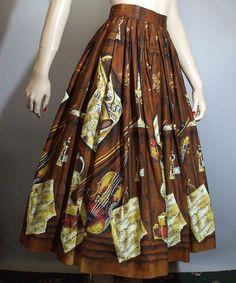 Vintage 50s Skirt / Novelty Print Full Skirt / by ClubVintage, $59.00