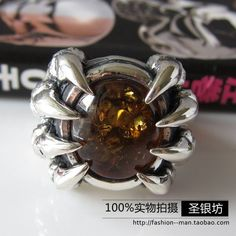 Silver 925 pure silver male ring vintage finger ring inlaying yellow amber