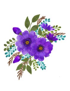 Cute Purple Flowers Rectangular Pillow by Presponch - Small x Art Floral, Floral Prints, Art Prints, Wreath Watercolor, Watercolor Flowers, Watercolour, Free Pictures, Free Images, Love Drawings