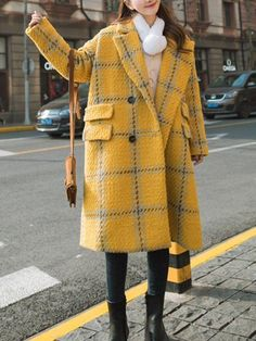 Outerwear,Coats,Yellow Lapel Long Sleeve H-line Buttoned Checkered/Plaid Casual Pockets Coat,yinbo,Yellow Plaid Coat, Plaid Jacket, Stylish Outfits, Fashion Outfits, Mode Mantel, Cheap Dresses Online, Yellow Coat, Vintage Coat, Mode Style