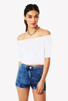 a7ba95b042c9ea Cherilyn Value Shoulderless Jersey Crop Top in White at Fashion Union Issa,  Off Shoulder Blouse