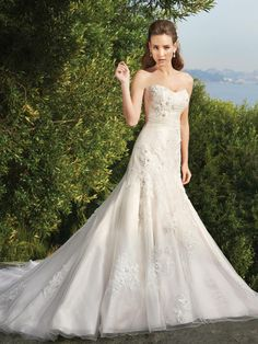 Princess Sweetheart Tulle Satin Chapel Train Ivory Appliques Wedding Dresses at Millybridal.com
