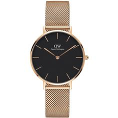 Daniel Wellington Classic Petite Stainless Steel Melrose Black Dial... (745 RON) ❤ liked on Polyvore featuring jewelry, watches, gold, rose jewelry, water resistant watches, stainless steel jewelry, quartz movement watches and 18k watches