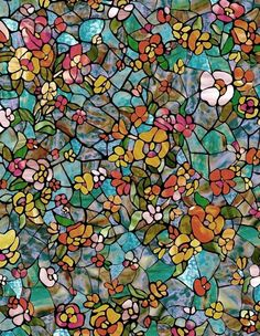 Venetian Garden Stained Glass Window Film  Multicolor Flowers Privacy DC Fix  #DCFix