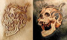 Leather Carving, Leather Art, Custom Leather, Leather Tooling Patterns, Leather Wallet Pattern, Filigree Design, Skull Design, Skull Stencil, Skull Artwork