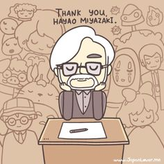 ありがとう, Hayao-san. ✿ Hayao Miyazaki might be retiring, but the magic of his work shall live forever. ~ (˘‿˘) Art by littlemisspaintbrush.tumblr.com