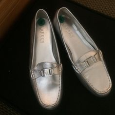 Ralph Lauren Loafers Silver Ralph Lauren loafers.  Worn twice. They don't fit me and were given to me but are super cute and wish they did! Ralph Lauren Shoes Flats & Loafers