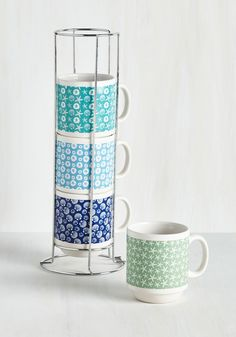 Shell We Have Coffee? Mug Set. Call your besties for a brunch date at your place now that you have this darling set of stacking mugs to share! #blue #modcloth