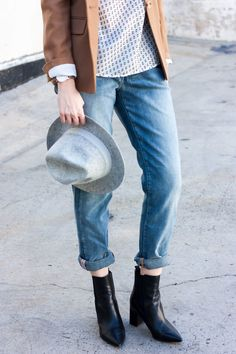 Los Angeles Fashion Blogger wearing JAG Boyfriend Jeans and J.Crew Felt Hat. @jagjeans