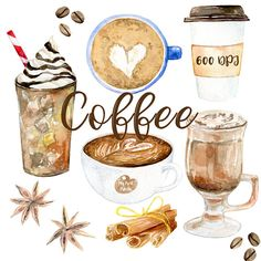 Watercolor Coffee clipart 600 dpi PNG drink collection