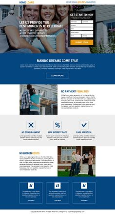 responsive online home loan lead capturing landing page design Best Home Loans, Real Estate Website Design, Loan Lenders, Online Loans, Landing Page Design, Website Design Inspiration, Lead Generation, Credit Cards, Web Design
