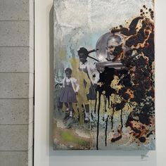 Artist Delano Dunn uses mixed media collage and paintings in his #inourtime series where he overlooks the #1960s space race and the #CivilRights activists granting black #Americans the #superhero status space men once received |  by #FSculture @affordableartfairnyc #affordableartfair #nyc #art by fashionsnoops