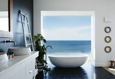 Contemporary open bathroom in a master bedroom with Avalon Beach views, Sydney suburbs, New South Wales, Australia [1920×1320] : RoomPorn Contemporary Interior Design, Contemporary Bathrooms, Bathroom Interior Design, Contemporary Architecture, Contemporary Beach House, Fashion Architecture, Kitchen Interior, Architecture Design, Avalon Beach