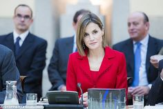 Queen Letizia attended a working meeting and a lunch with representatives Cervantes Institute, at the Royal Palace of El Pardo on October 19, 2015 in Madrid, Spain.