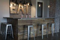 Floors on the bar...cute idea for basement bar.