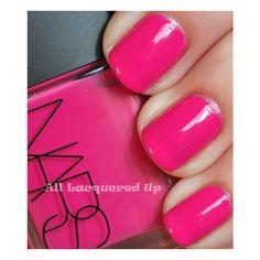 ALU's 365 of Untrieds - NARS Schiap Nail Polish ❤ liked on Polyvore featuring beauty products, nail care, nail polish, nails, makeup, beauty, unhas, bright pink nail polish and nars cosmetics