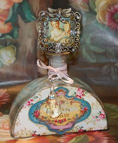 100 Pretty Things: Project # 12 - A Pretty Altered Bottle - Silver Glitter Keeper