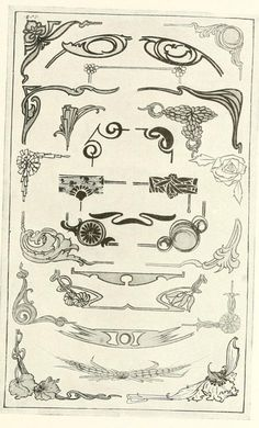 """Border and ornament designs From the public domain ebook, """"The art of show card writing; a modern treatise covering all branches of the art ... with one hundred and fifty-three illustrations and thirty-two lettering plates, comprising all the standard ancient and modern styles (1922)."""" Download in epub, kindle or PDF format here: https://archive.org/stream/artofshowcardwri00stro"""
