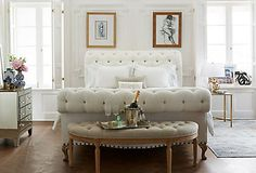 Fashion designer Jenni Kayne teams up with One Kings Lane Interior Design to transform her living room. Tour her airy, modern space and shop the look. One Kings Lane, Wingback Bed, Upholstered Beds, Slipcover Sofa, Tufted Bed, Luxury Furniture, Bedroom Furniture, Bedroom Decor, Bedroom Ideas