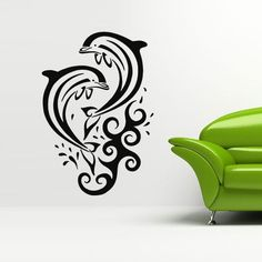 Great dolphin and ocean concept! Mini Tattoos, Body Art Tattoos, Cool Tattoos, Tatoos, Wall Stickers Murals, Wall Decals, Vinyl Decals, Dolphins Tattoo, Pancake Art
