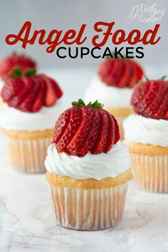 This Angel food cake cupcake recipe is the perfect summer dessert. Homemade angel food cupcakes are light, fluffy and perfectly sweet! Top these homemade cupcakes made with homemade angel food cake with a tasty cool whip frosting and fresh berries.