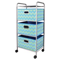 Create stylish storage in your home, office, or college dorm with this 3-drawer trolley cart. Made with a lightweight, durable metal frame, this mini cart offers 3 drawers with a blue and green chevro