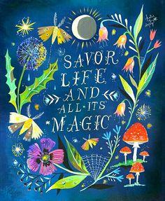 Katie Daisy Lettering, Hand Typography, Art Magique, Watercolor Quote, Bear Watercolor, Watercolor Painting, Garden Wall Art, Acrylic Artwork, Art And Illustration