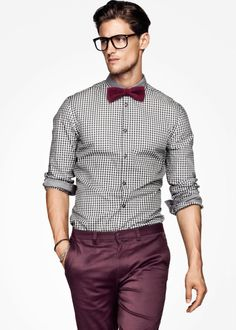 Men's White and Black Gingham Long Sleeve Shirt, Burgundy Chinos, Burgundy Bow-tie Burgundy Chinos, Burgundy Bow Tie, Red Chinos, Burgundy Pants Men, Burgundy Shoes, Khakis, Mens Dress Pants, Men Dress, Pant Shirt