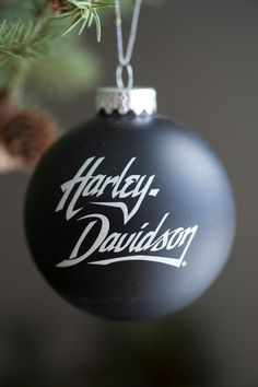 This could easily be a DIY ornament craft with Chalkboard paint Harley Davidson home decor