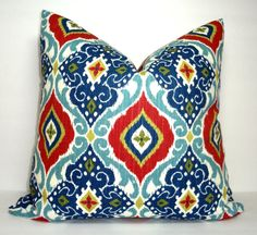 Red & Blue Ikat Print Pillow Cover Decorative by HomeLiving
