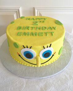 Spongebob birthday cake - buttercream iced cake with fondant details