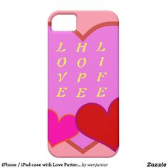 iPhone / iPad case with Love Pattern and Words