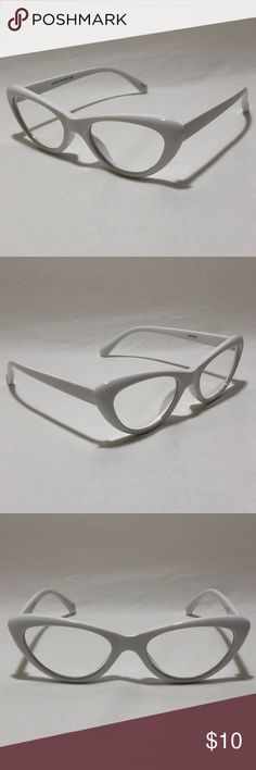 White Clear Lens Cateye Glasses ☑️ 1 Pair of Clear Lens Cateye Glasses    ▪️White Frame    ▪️Clear Lenses    ▪️Exaggerated shape with rounded edges     ▪️100% UV Protection    ▪️High Quality    ▪️Women    ▪️Free Microfiber Bag Included  ➡️ All orders ship within 1 Business Day Monday - Friday ➡️ Your satisfaction is our priority!  Please let us know if we haven't met you expectations!  We will work to achieve happiness! :-)  #ShadeME 9213 Accessories Sunglasses
